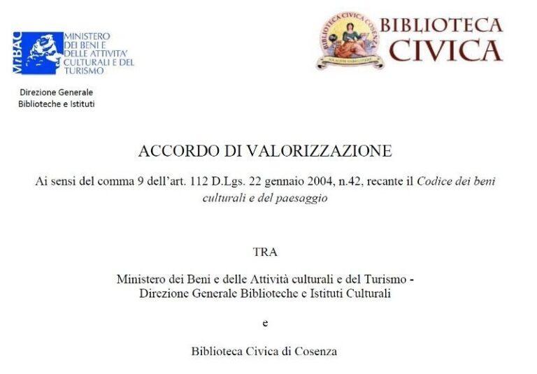Sottoscritto l'accordo di valorizzazione della Biblioteca civicacon il Mibact