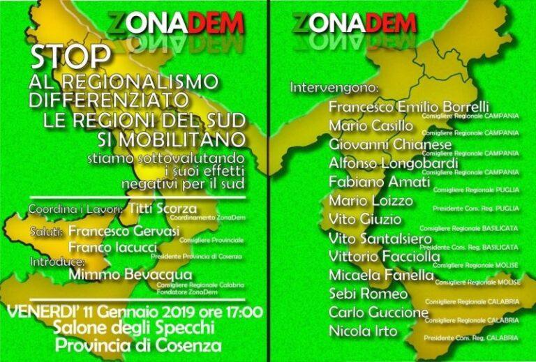 Da Cosenza parte la mobilitazione delle regioni del Sud con Zonadem