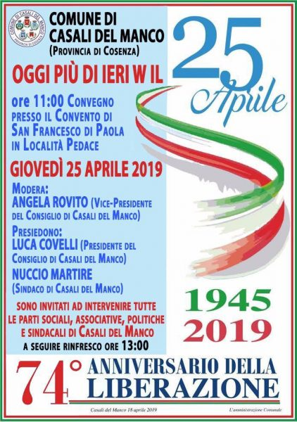 Casali del Manco, stamattina manifestazione sul 25 aprile