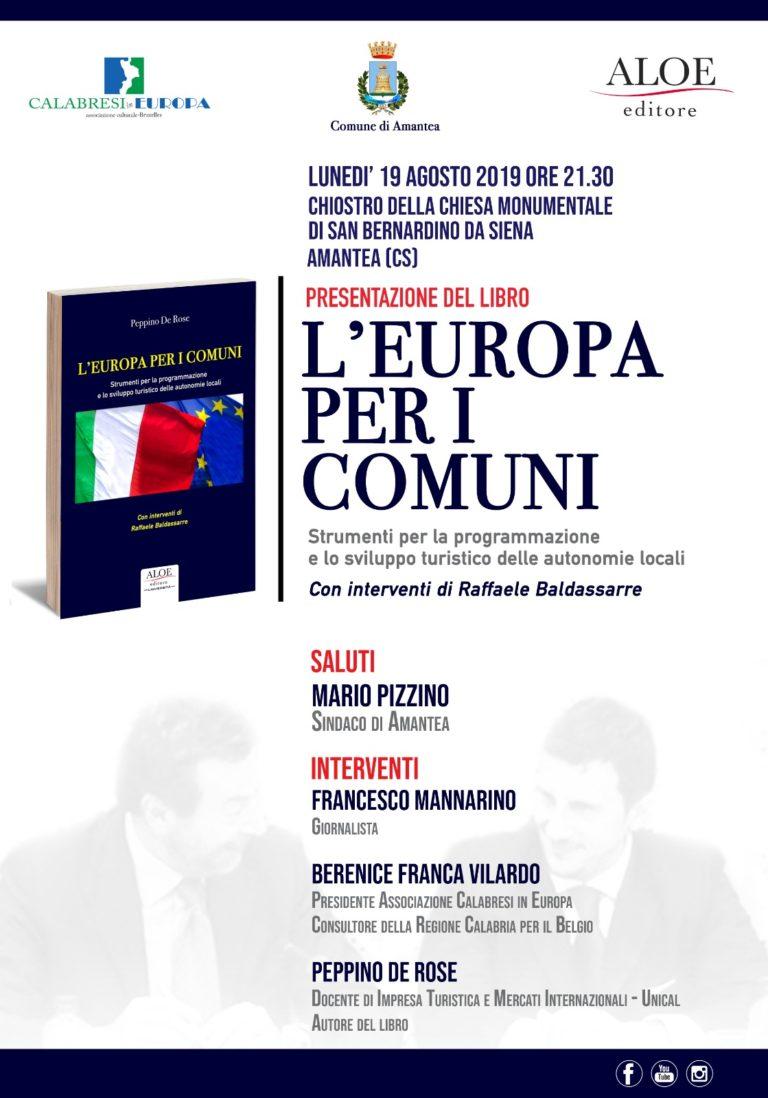 """Ad Amantea, questa sera alle 21, il libro di De Rose: """"L'Europa per i Comuni"""""""