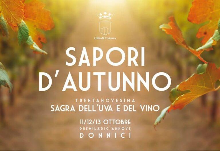 Sapori d'autunno 2019: pronta a Donnici la 39ma Sagra dell'uva e del vino