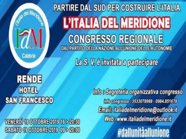 IDM, tutto pronto per il congresso regionale del Movimento