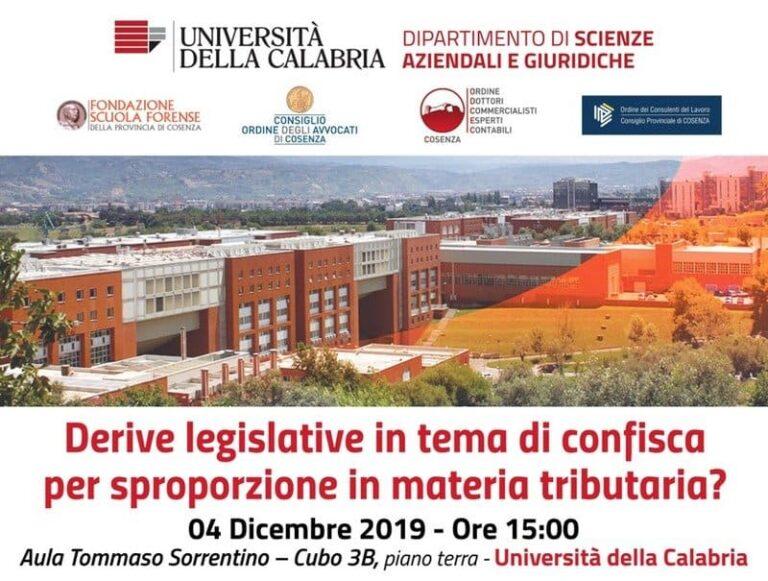 Università della Calabria, convegno in tema di rapporti tra sistema tributario e sistema penale.