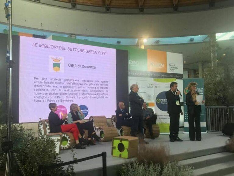 Cosenza premiata a Rimini come 'Green City' per la sua strategia ambientale