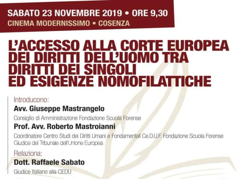 Cosenza si discuterà dell'accesso alla Corte Europea dei diritti dell'uomo