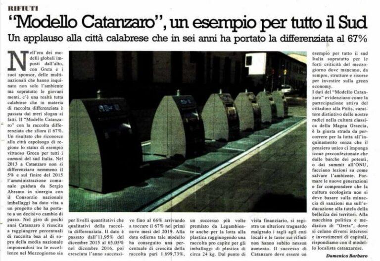 Raccolta differenziata, Catanzaro esempio virtuoso green per tutti i Comuni del sud