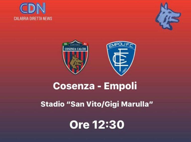 Serie B, Cosenza-Empoli in campo alle 12.30. Le probabili formazioni