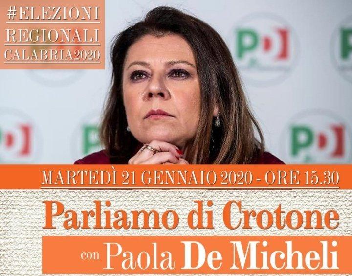 Regionali, il ministro De Micheli martedì a Crotone