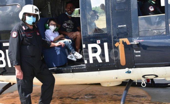 bambini in elicottero carabineri