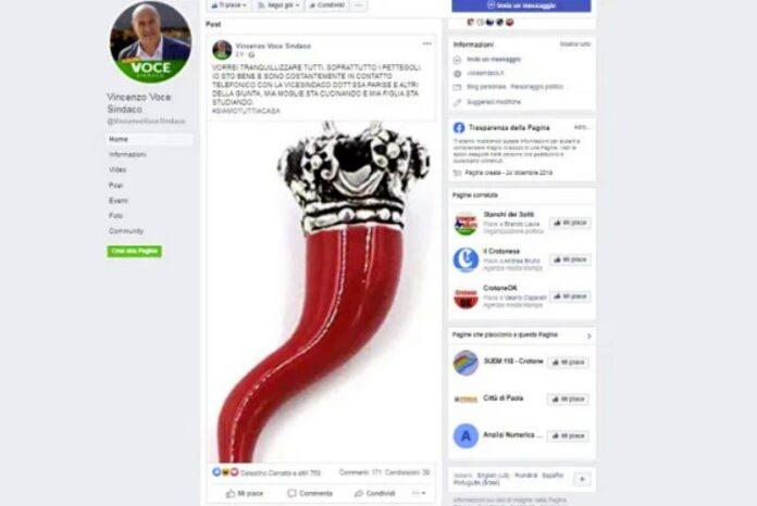 corno rosso pagina facebook sindaco crotone