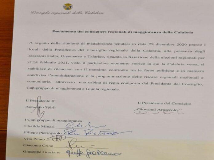 accordo di maggioranza regione Calabria per elezioni il 14 febbraio 2020