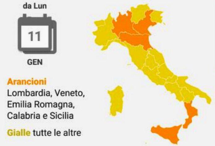 italia zona gialla arancione