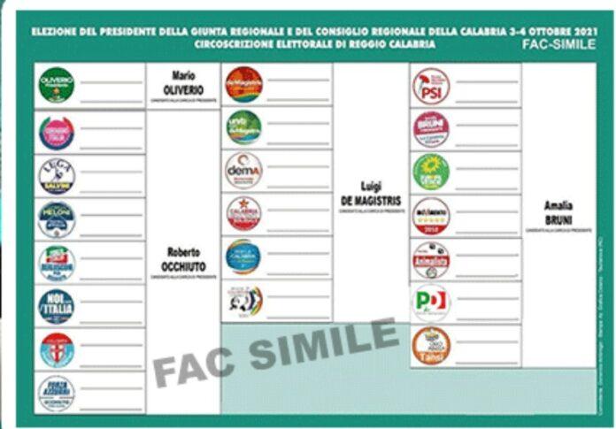 scheda elettorale regionali calabria 2021